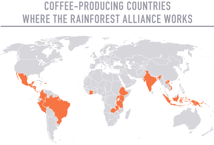 Map of coffee producing countries highlighting those where map of coffee producing countries highlighting those where rainforest alliance sciox Gallery