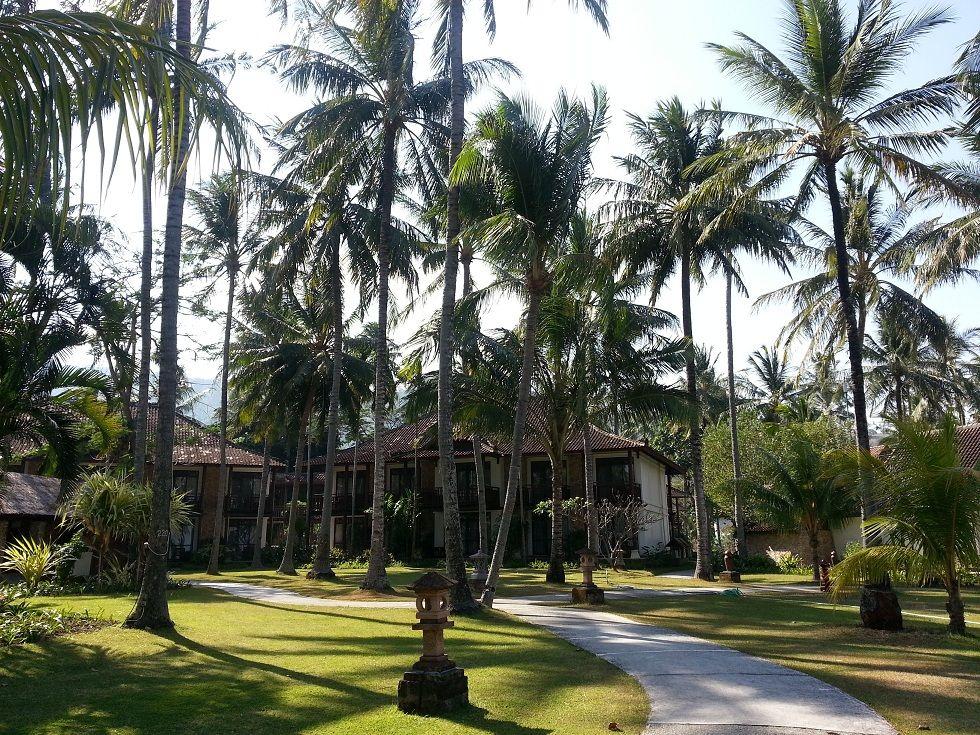 Lush garden at Holiday Resort Lombok Indonesia