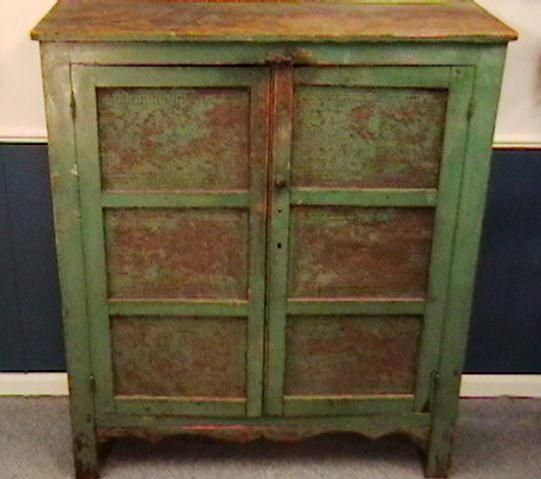 old green painted pie safe