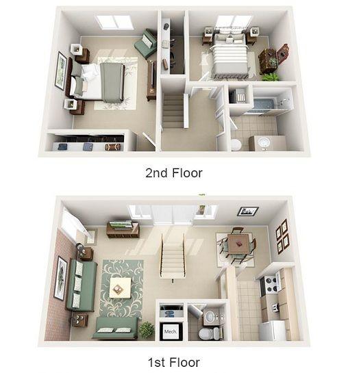 2br Townhome 3d Floor Plan Projetos De Casas Pequenas Projectos De Casas Plantas De Casas
