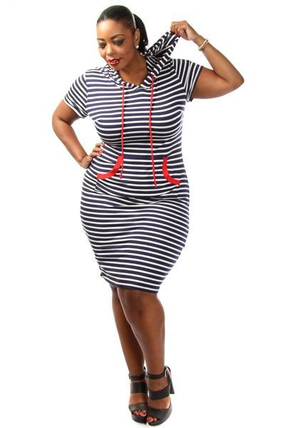 This Casual Plus Size Dress Has A Stripe Body Hooded Top And Front