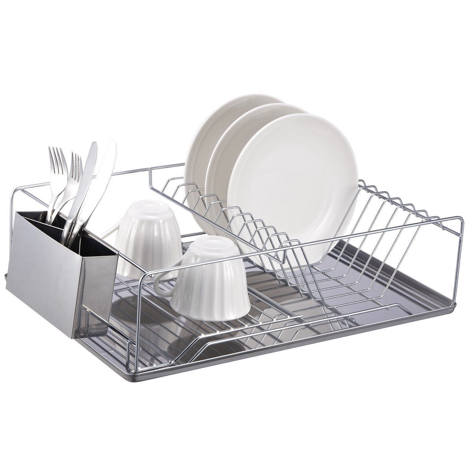 Home Basics 2 Tier Dish Rack Inspiration This 3Piece Stainless Steel Dish Rack Provides Extra Space For Decorating Inspiration