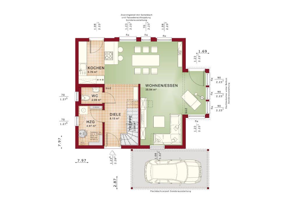 Grundriss EINFAMILIENHAUS Solution 106 V2 Living Haus * Fertighaus - offene kuche wohnzimmer grundriss