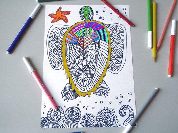 tartaruga di mare pagina da colorare per adulti zen meditazione stampare mare stampabile instant download disegno digitale lasoffittadiste