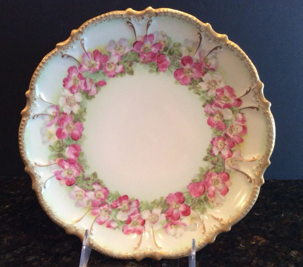 Hand Painted French China Pink Roses \u0026 Gold Coronet Limoges Cabinet Plate #Limoges & Hand Painted French China Pink Roses \u0026 Gold Coronet Limoges Cabinet ...