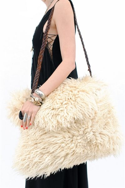 Amazing Oversize Mongolian Fur Bag With Braided Vintage Leather Belt Strap