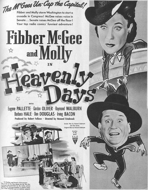 Movie Poster For The  Fibber Mcgee And Molly Film Heavenly Days