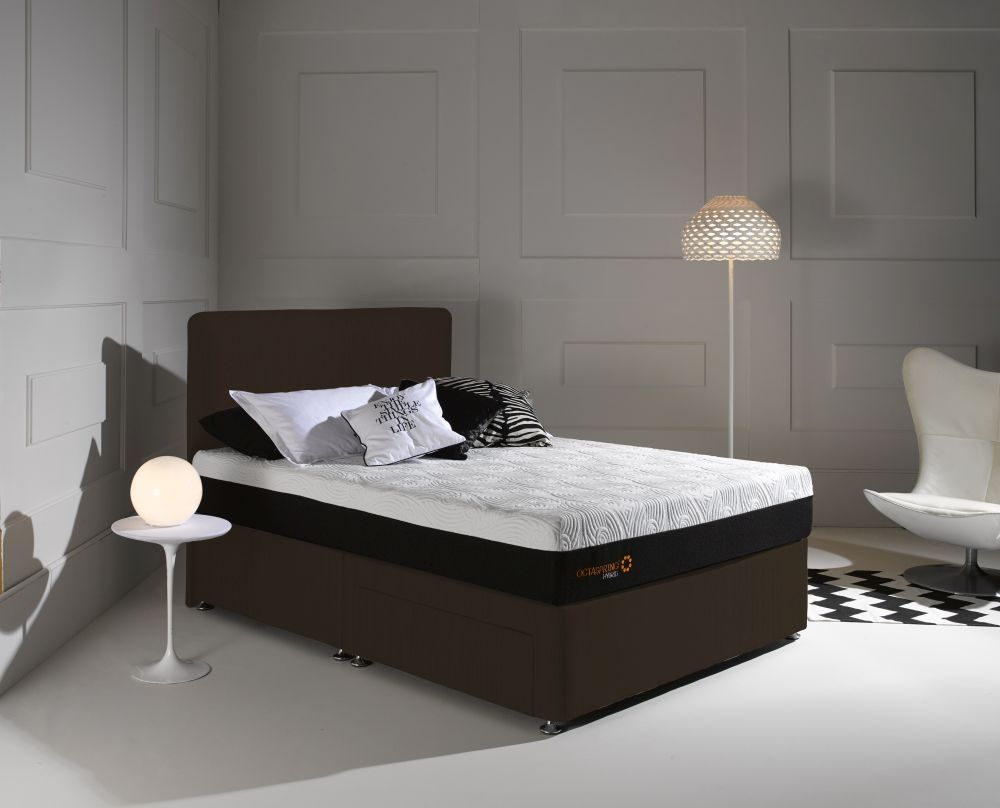 dormeo octaspring octaspring tiffany chocolate fabric divan bed with