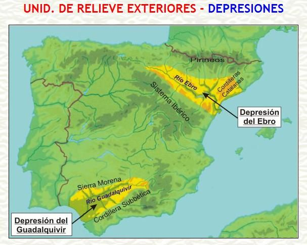 Hay Dos Grandes Depresiones En La Peninsula Iberica La Del Ebro Al Noreste Y La Del Guadalquivir Al Suroeste Geology Map Map Screenshot