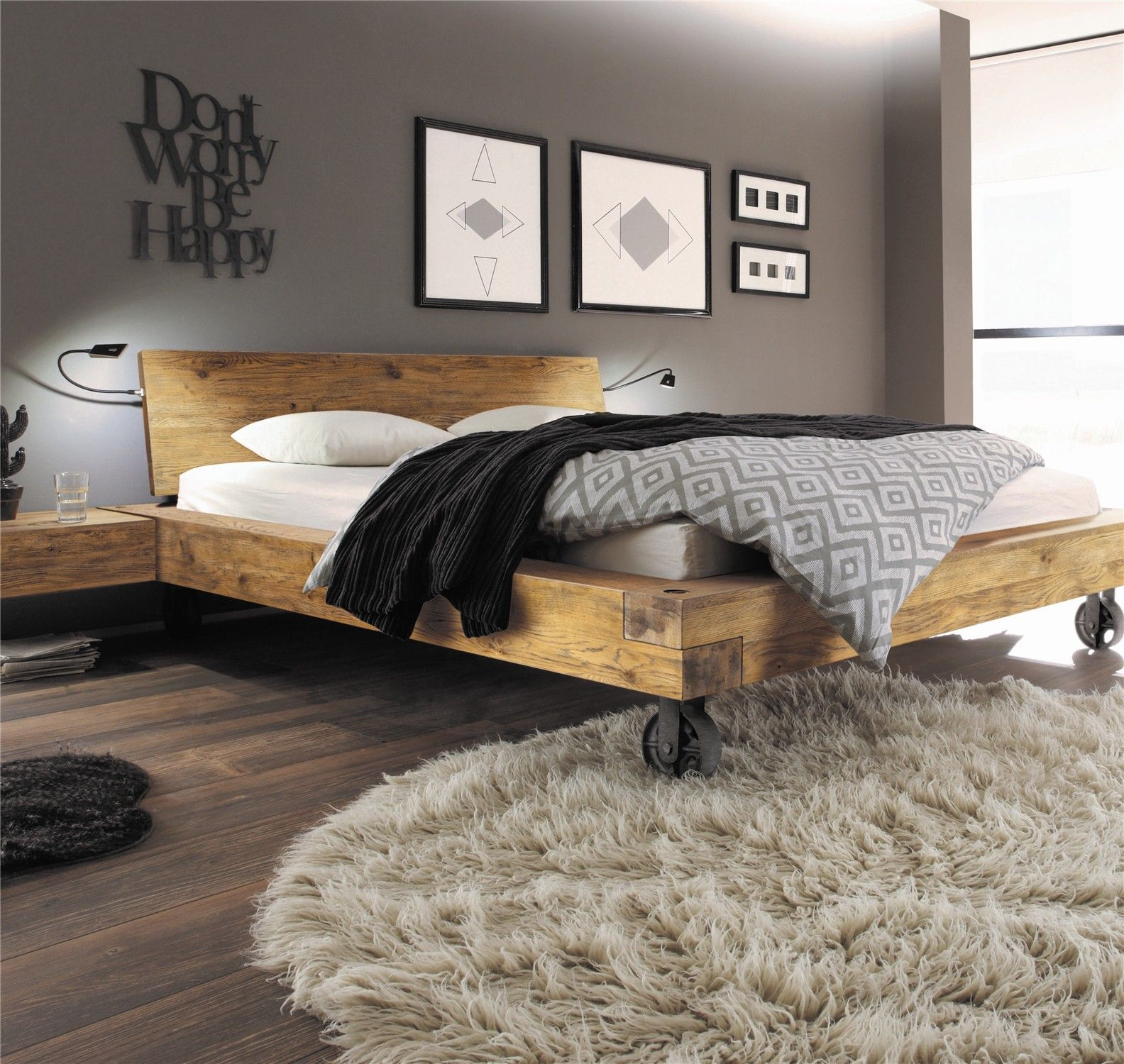 Hasena Bloc Road Sion Character Solid Oak Bed In Vintage Finish