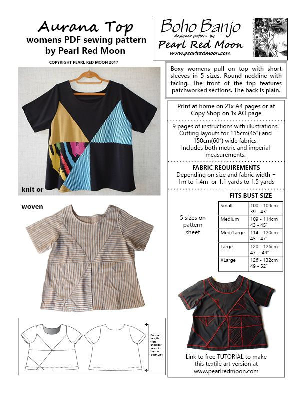 Pearl Red Moon Art- Boho Banjo Aurana Top   To Sew For Me   Pinterest
