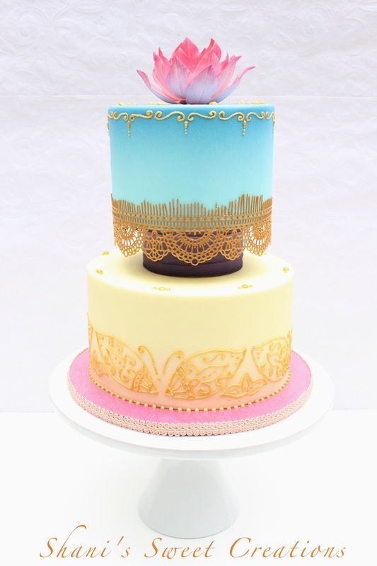 Henna inspired wedding cake with beautiful ombre\' colors created by ...