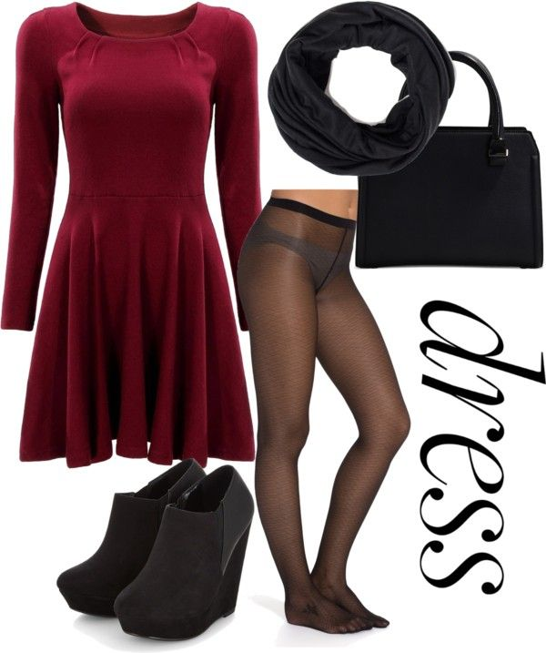 Warm up by senida-th featuring print stockings ❤ liked on Polyvore Long sleeve skater dress, $25 / Vogue print stocking, $17 / High heel wedge boots, $16 / Victoria Beckham leather shoulder handbag / Infinity loop scarve