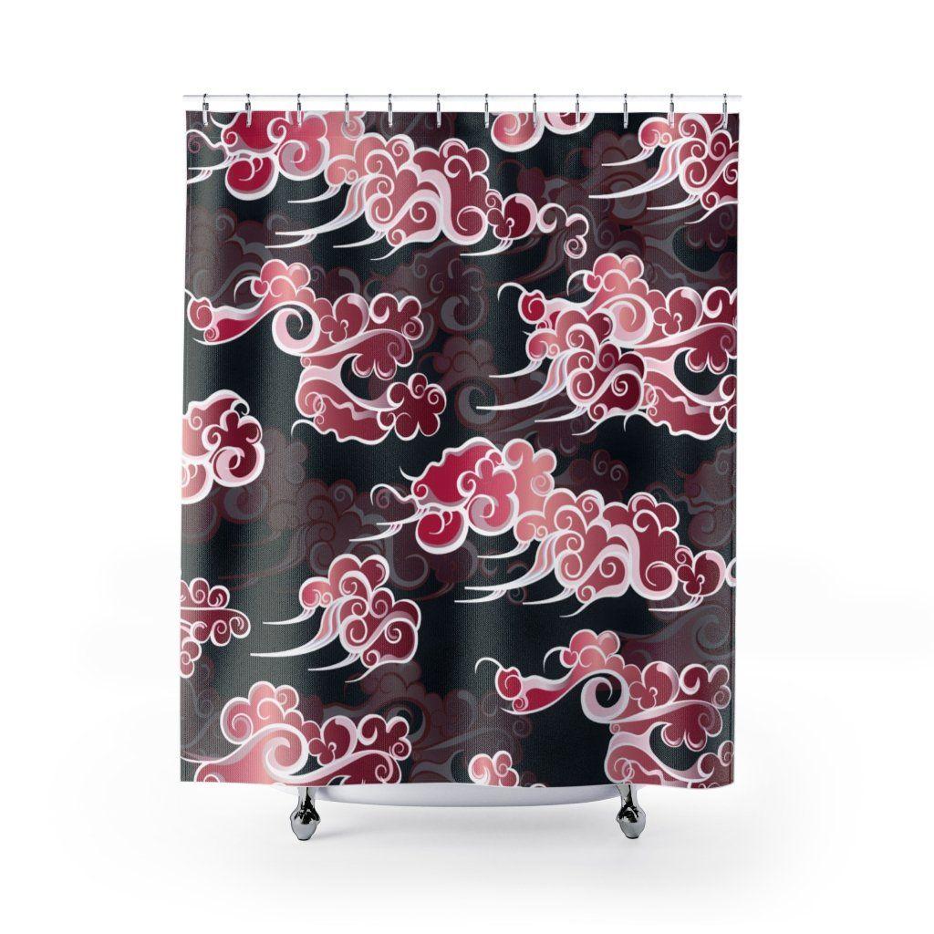 Asian Tattoo Art Clouds Pink Burgundy Black Shower Curtain Kellisi In 2020 Black Shower Curtains Black Shower Cool Shower Curtains
