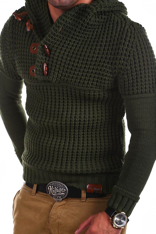 gehobene Qualität detaillierte Bilder Turnschuhe Details about TAZZIO Strick-Pullover Hoodie Grobstrick ...