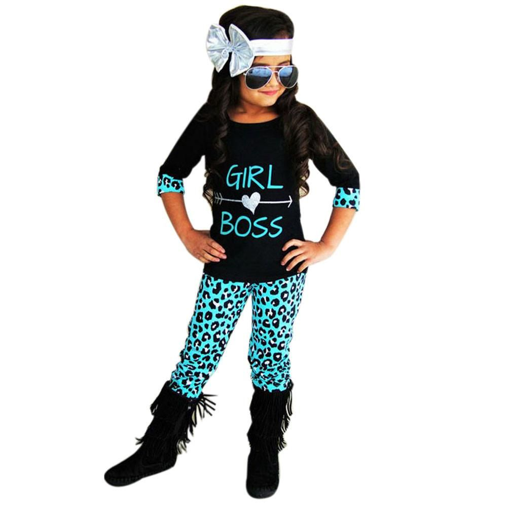 2-6T Toddler Kids Baby Girls Outfits Leopard T-shirt Tops+Long Pants Clothes Set