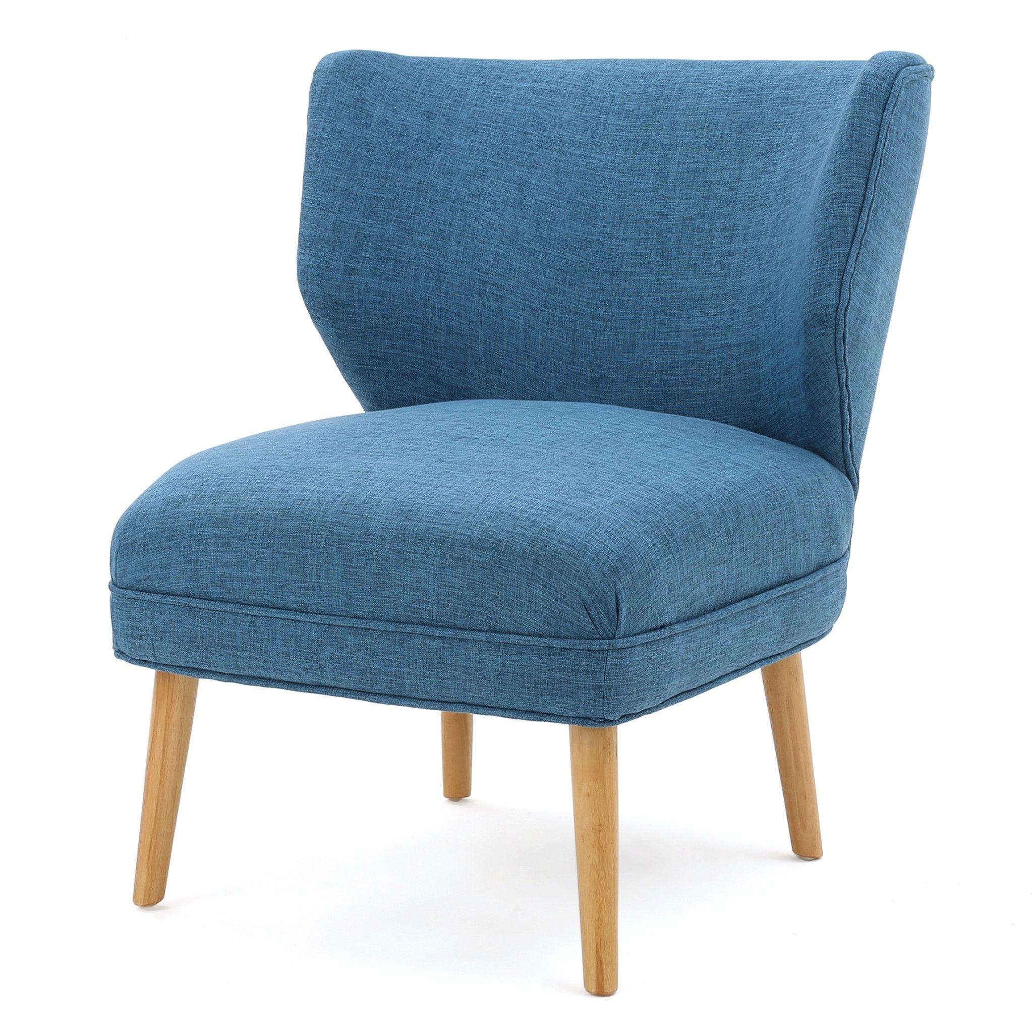 Best Divero Mid Century Fabric Accent Chair Blue Accent 640 x 480