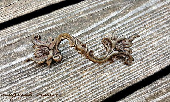 French Vintage Drawer Pulls Dark Brass Drawer Pulls French Provincial Dresser Pulls Cabinet Pul Vintage Drawer Pulls Rustic Drawer Pulls Farmhouse Drawer Pulls