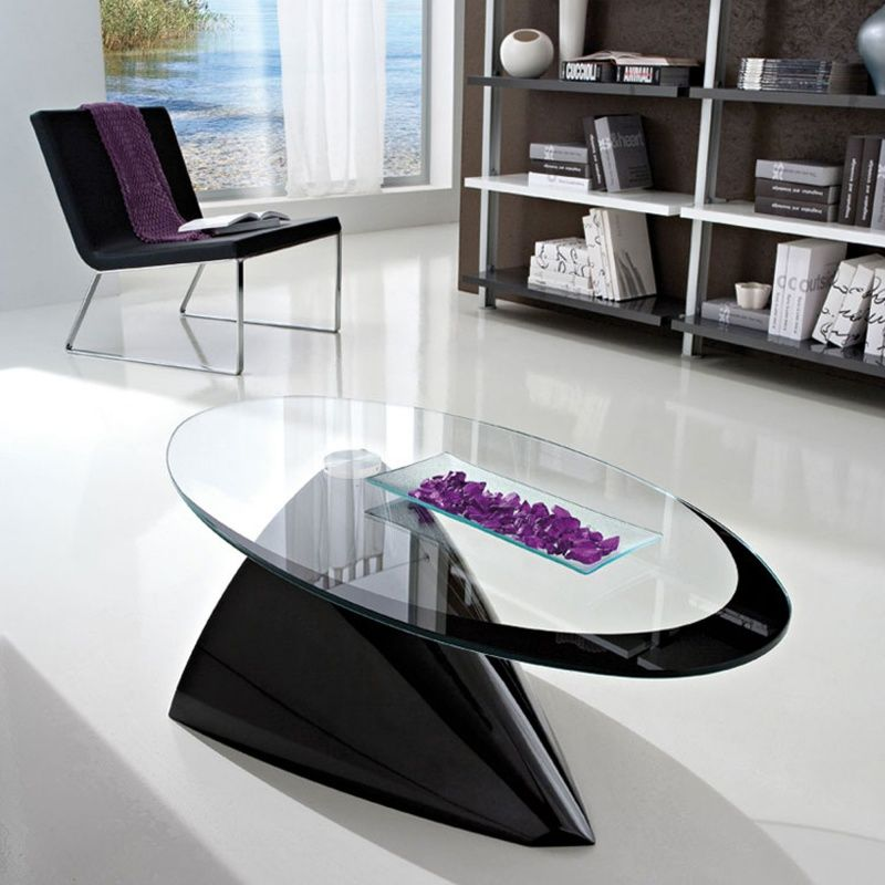 Table basse design ovale en verre - Pamela   Tables 154cac69b560