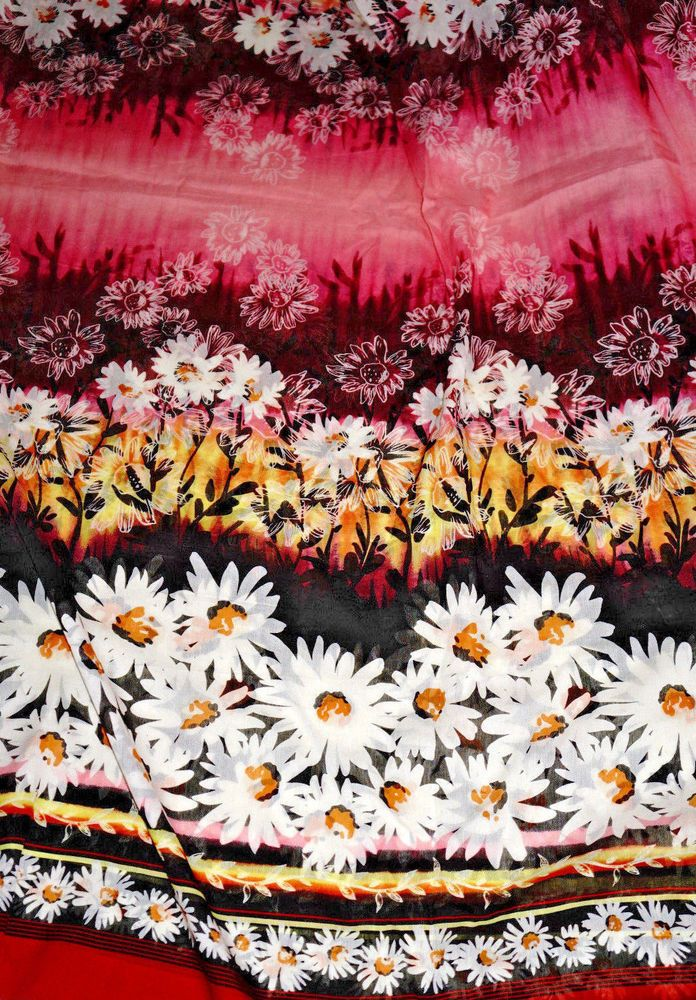 3 7/8   y TSI Designer Cotton Silk Voile Fabric Daisy Border  Semi Sheer 45.99+fr