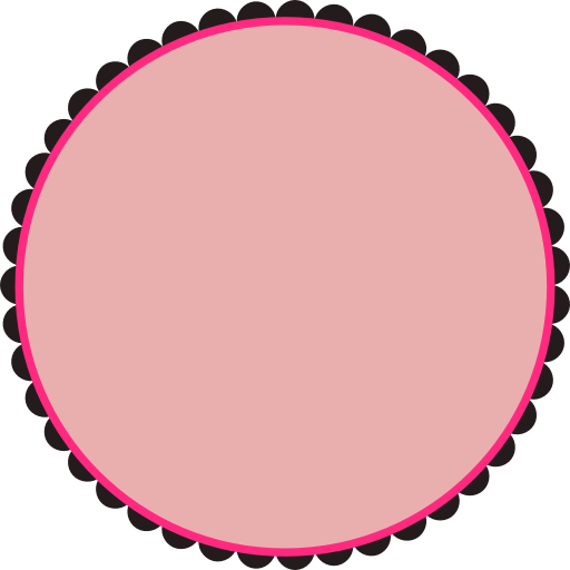 clipart scalloped round frame