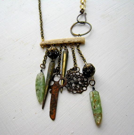 relics necklace with green kyanite