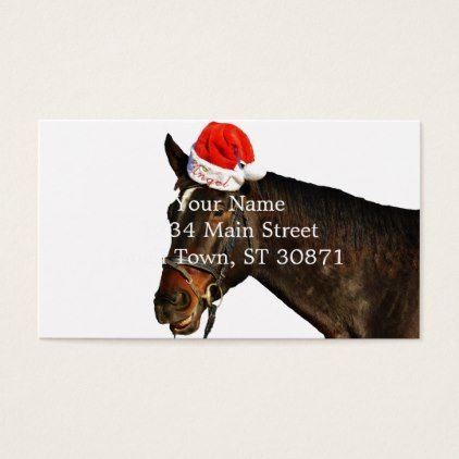 Horse Santa Christmas Horse Merry Christmas Business Card