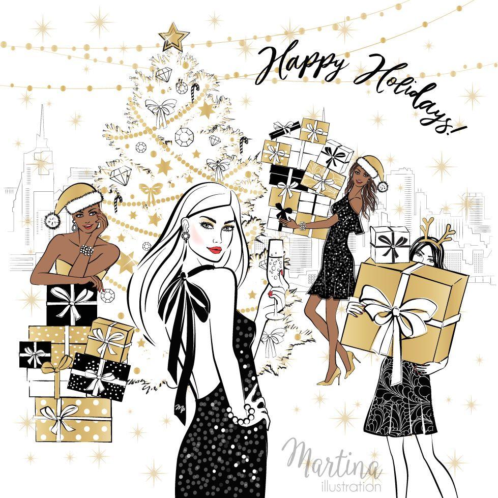 Merry christmas fashion illustration my illustrations pinterest