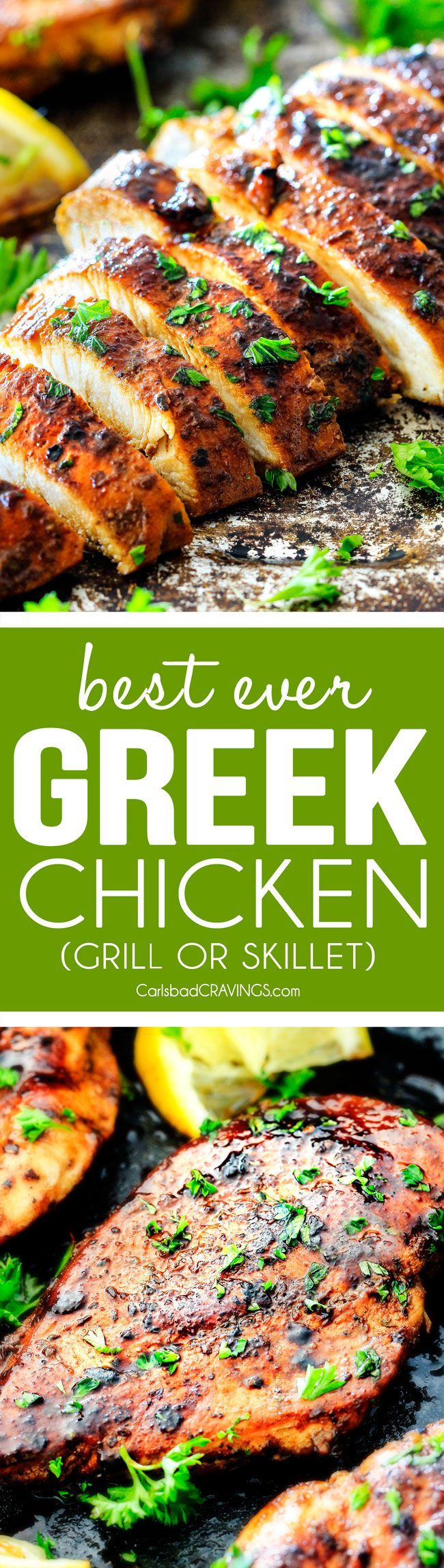 Greek Marinated Chicken is SO juicy, tender and exploding with flavor from an EASY marinade! perfect for pitas, salads, pasta, rice/veggie etc. I love having this on hand!