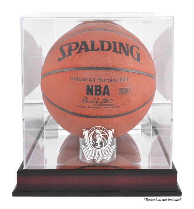 Dallas Mavericks Mahogany Logo Basketball Display Case with Mirror Back