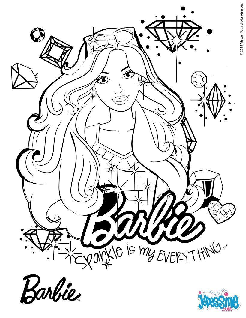 Portrait de Barbie  colorier € imprimer gratuitement ou colorier en ligne sur hellokids