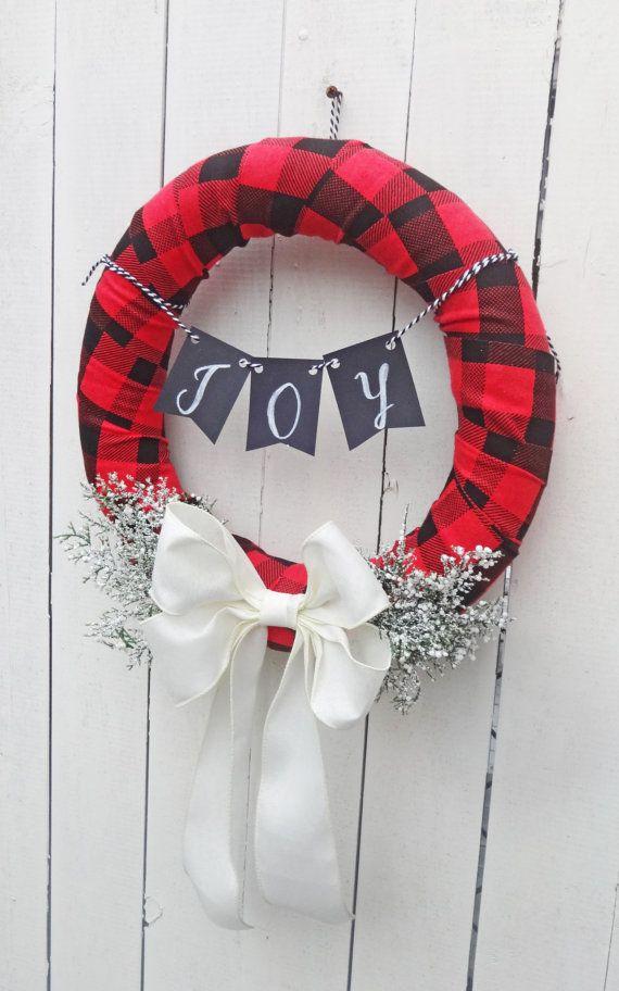 rustic christmas wreath flannel xmas natural christmas wreath christmas wreath rustic christmas decor natural winter door decor plaid pinterest