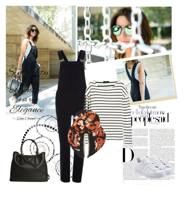 Black overalls by sarapires on Polyvore featuring J.Crew, River Island, adidas Originals, Prada, Issa, Chanel, women's clothing, women's fashion, women and female
