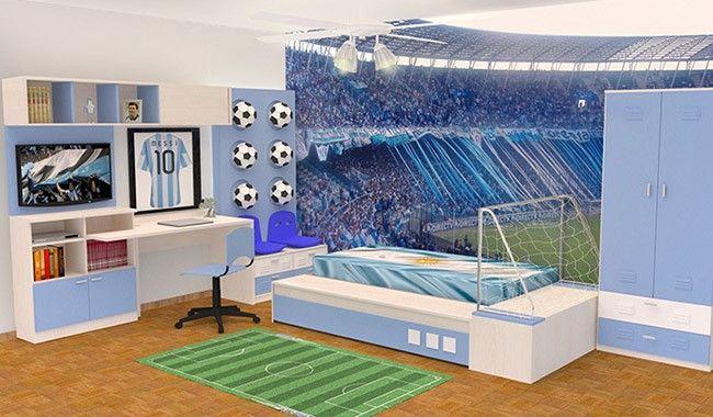 Dormitorios infantiles d a del ni o dise o de for Decoracion de cuartos de ninos de futbol