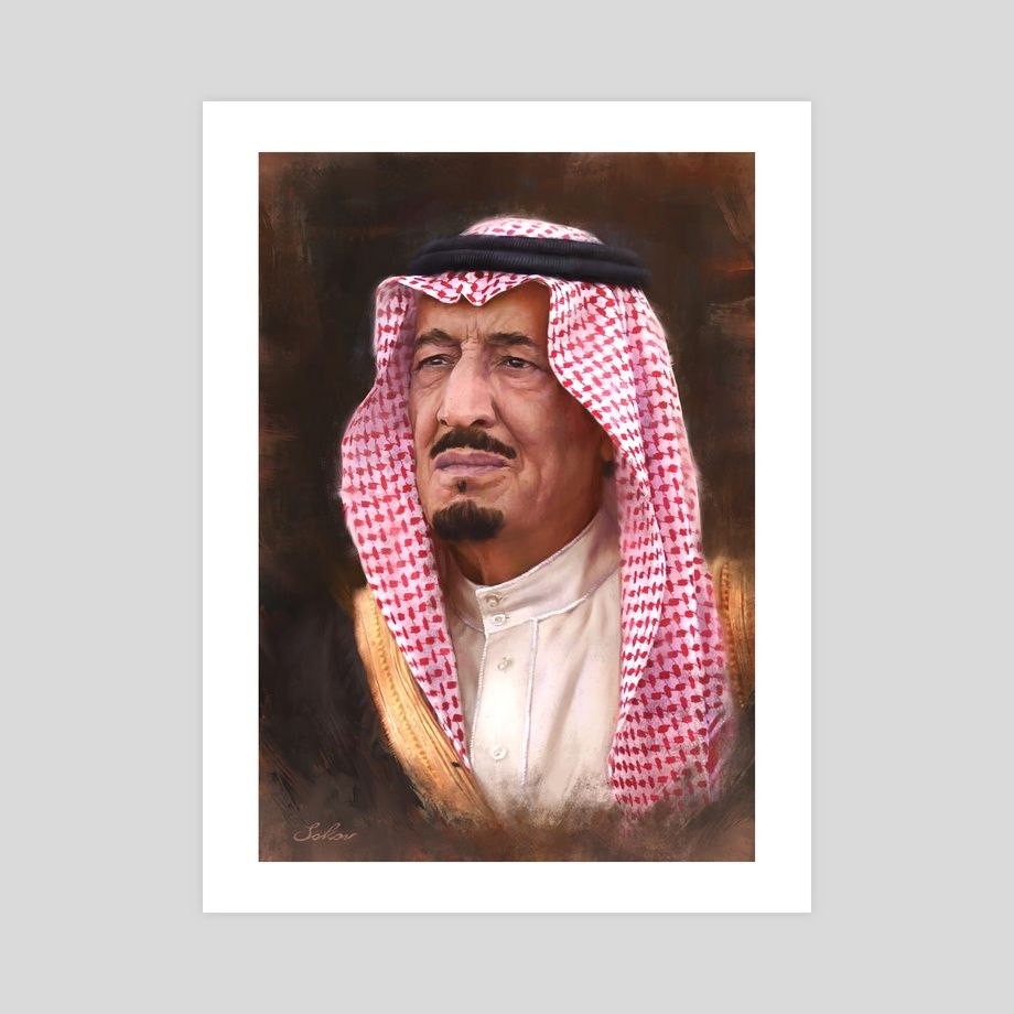 King Salman Bin Abdulaziz Al Saud An Art Print By Pavel Sokov In 2021 King Salman Saudi Arabia Saudi Men Saudi Arabia Culture