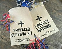 Survival First Aid Kit Bags on Etsy. Personalized paper favor bags for hotel welcome