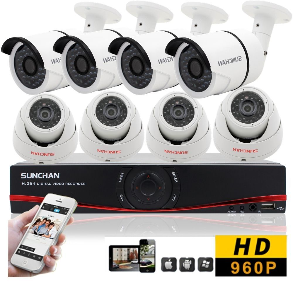 8 Camera Security System Indoor Outdoor 8CH 1080N DVR 960P AHD Home CCTV Kits #SUNCHAN