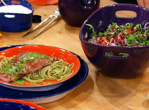 Curtis Stone's Veal Saltimbocca with Spaghetti and Arugula Salad
