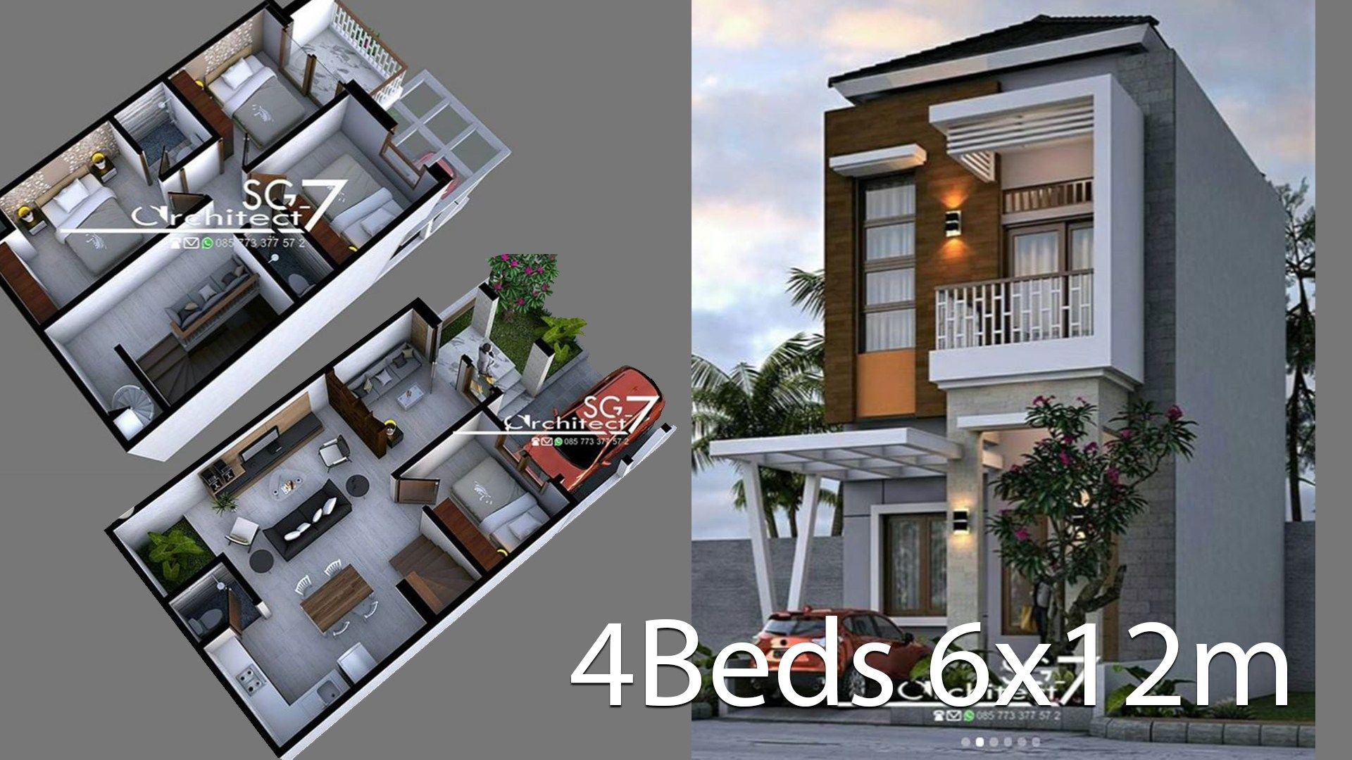 4 Bedrooms Home Design Plan 6x12m House Description One Car Parking And Gardenground Level Living Room Fam Home Design Plan Home Building Design House Design