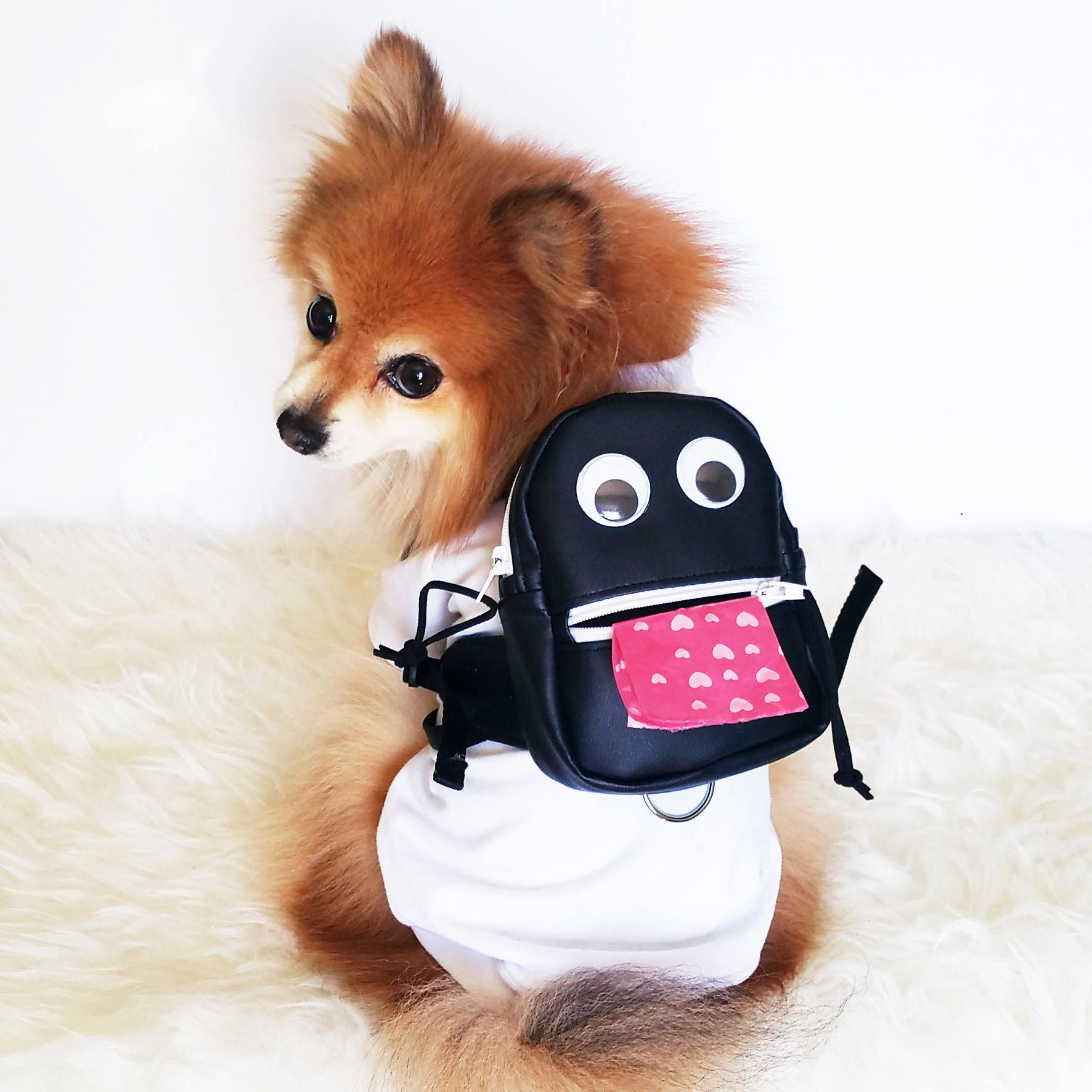 Dog Leather Backpack With Poop Bags Dogs Harness Vest Puppy