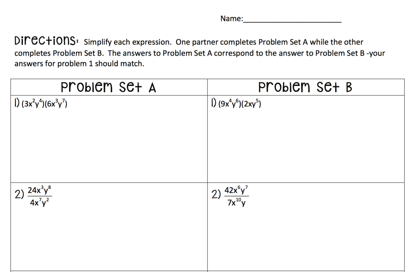 8th Grade Unit 6 Exponents Part 1 Exponent Properties Exponents Simplify Each Expression Problem Set [ 882 x 1352 Pixel ]