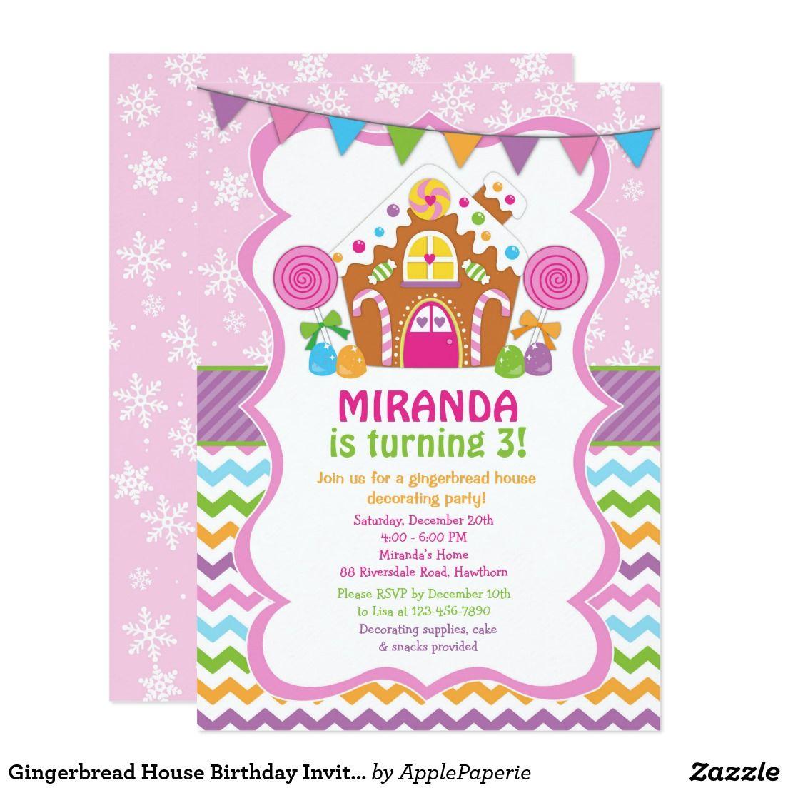 Gingerbread House Birthday Invitation | Christmas Party Invitations ...
