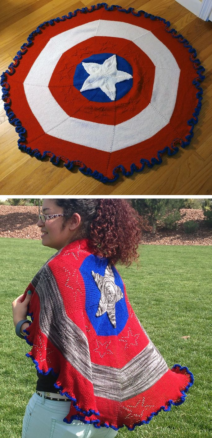 Free Knitting Pattern for Captain American Shawl or Blanket ...