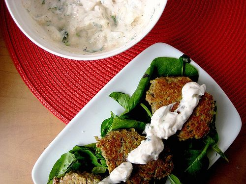 Spanakorizo and Baked Falafel with Cilantro Yogurt Sauce
