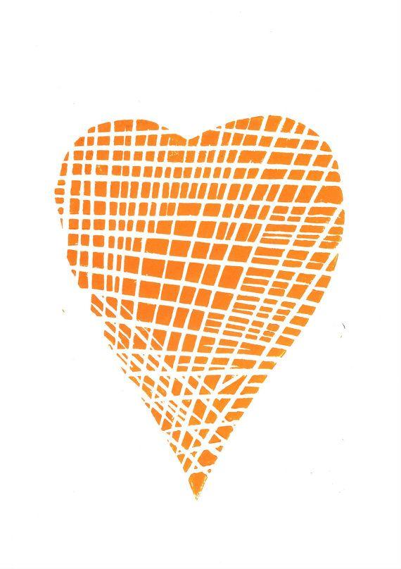 Lino Print  Fabric of the Heart   Linoleum Art Print by typogy, $20.00