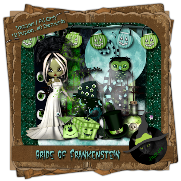 Bride of Frankenstein - Halloween themed digital taggers kit composed of 12 (800 x 800 pixel, .jpg) papers and 40 .png elements, including one Frankenbride poser by ©Medievil Creations. 300 DPI. Personal use only. Created for the October 2013 Dusk 2 Dawn Blog Train.