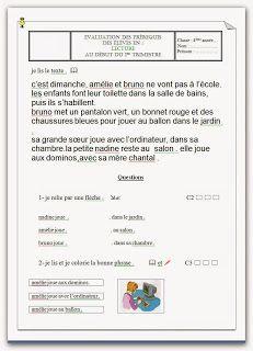 evaluation des prerequis 4eme année | Evaluation, Texte en francais, Texte
