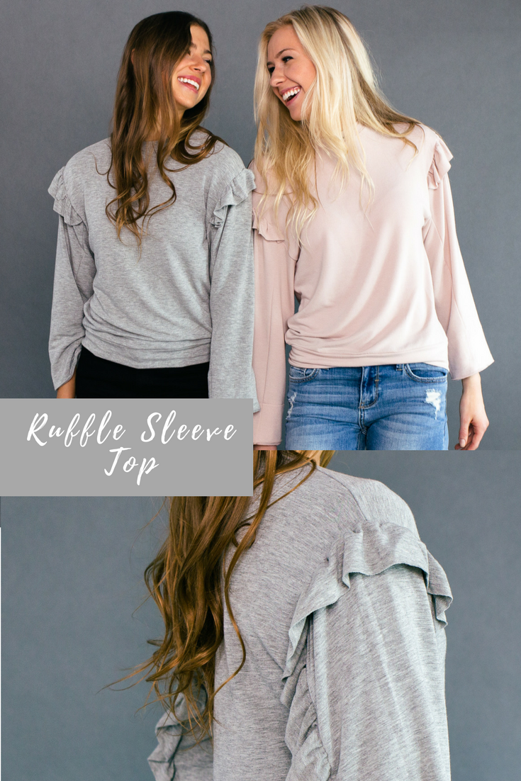 3a2f9045e115f Dewey Ruffle Sleeve Top - Heather Grey | Top It All Off || Called to ...