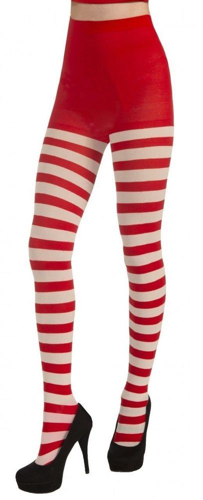 Red and white striped pantyhose tio