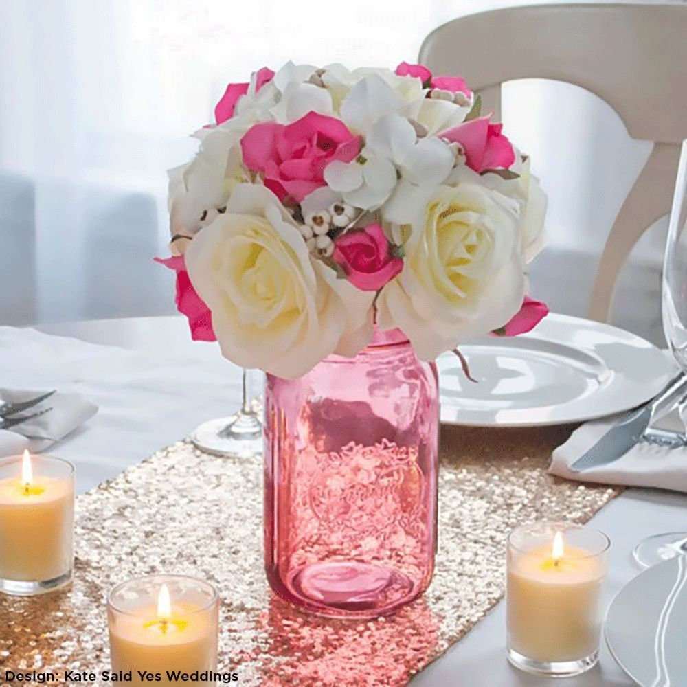 "Vintage Wedding Ideas Mason Jars: These Mason Jars In Vintage Pink Measures 6"" Tall With A 3"